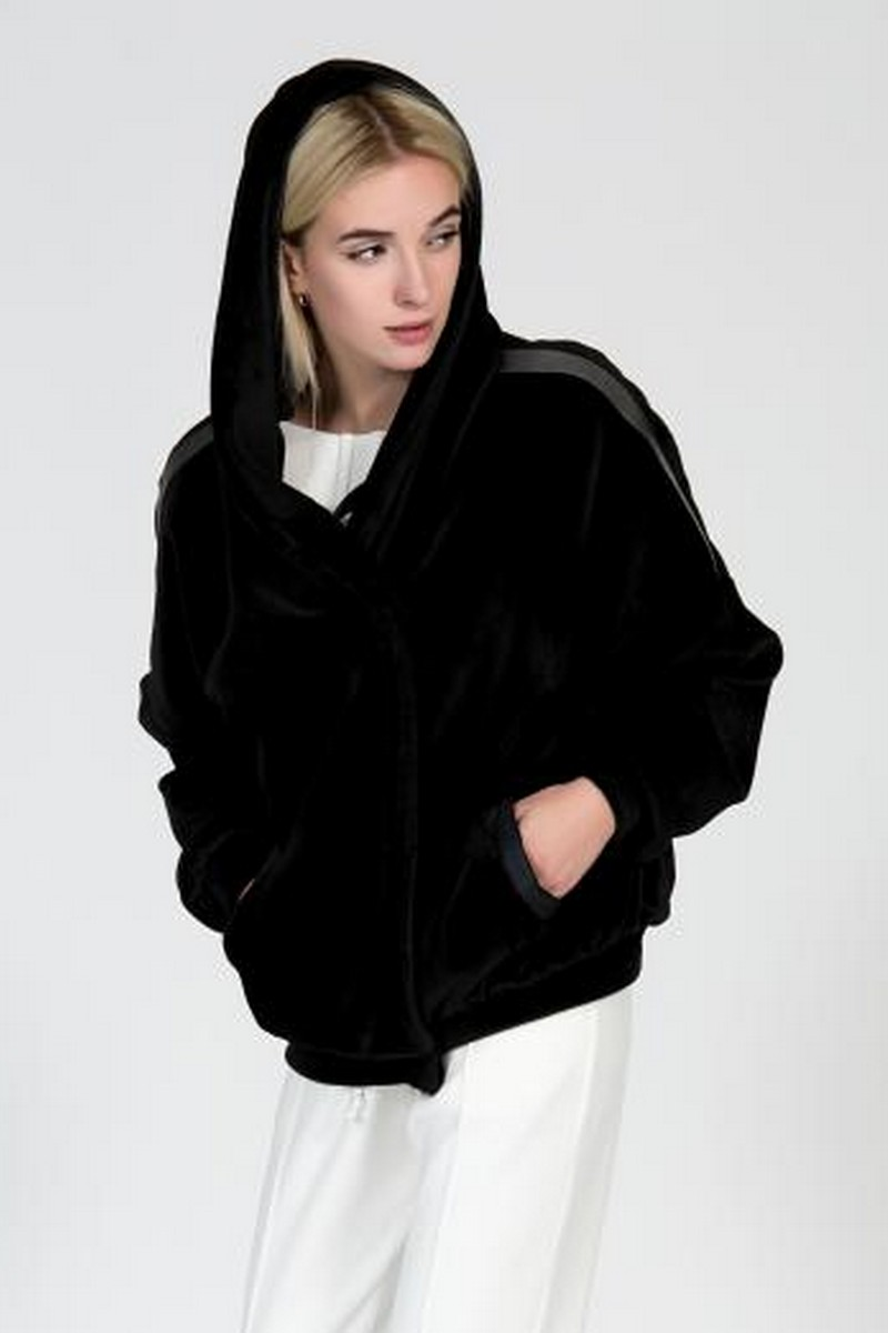 Buy Black double sided fur jacket, hooded stylish unique design women casual coat