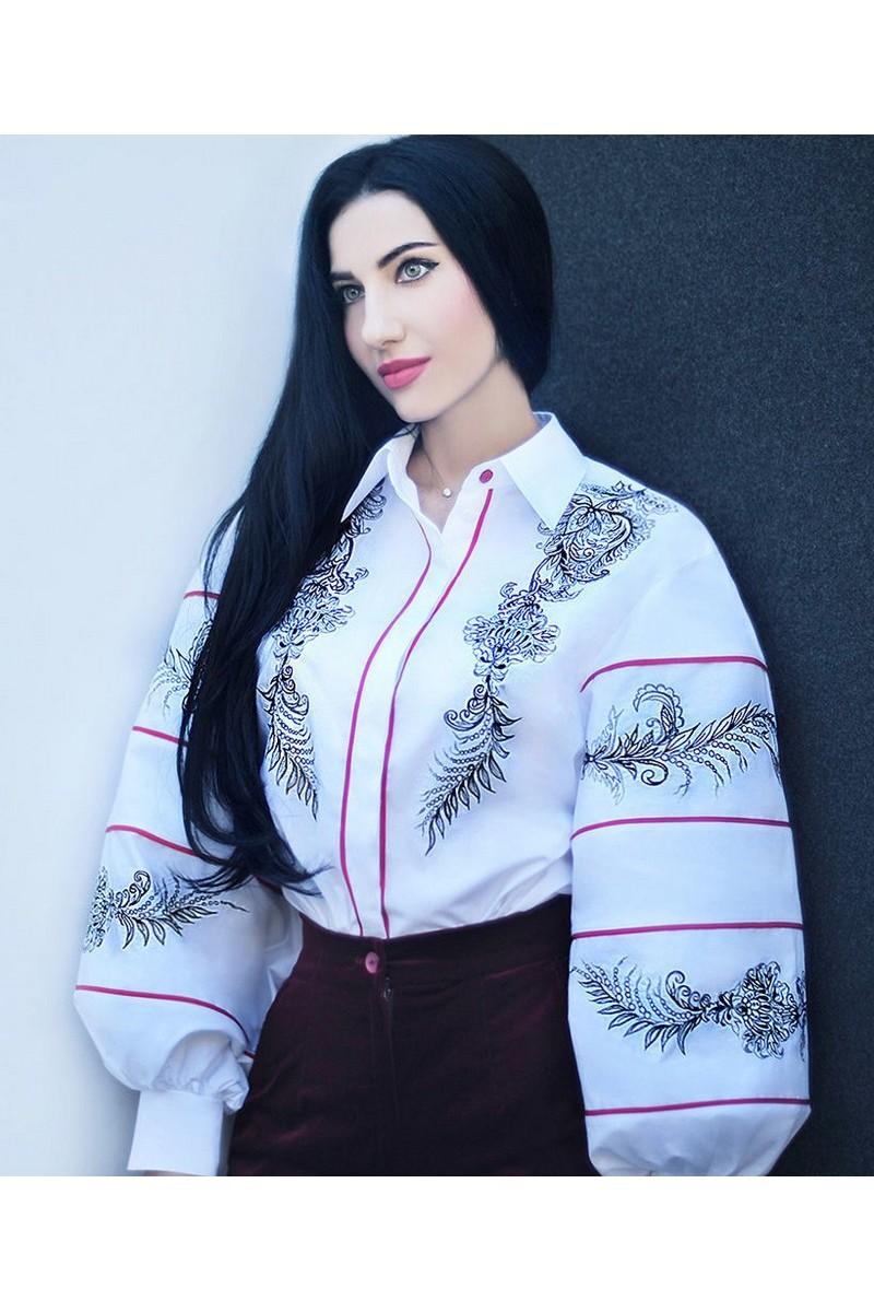 Blouse embroidered vyshivanka white cotton, elegant women's long fluffy sleeves blouse