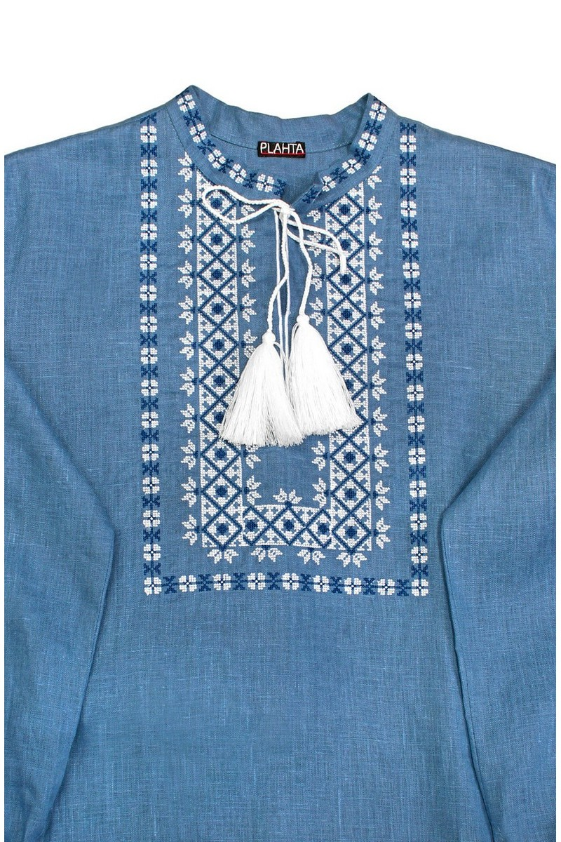 Blue linen ukrainian authentic men's embroidered shirt vyshivanka