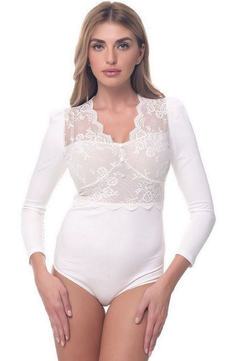 Buy White Comfortable Blouse Body for Women Guipure Lace Office Style for business woman Clothing by Arefeva