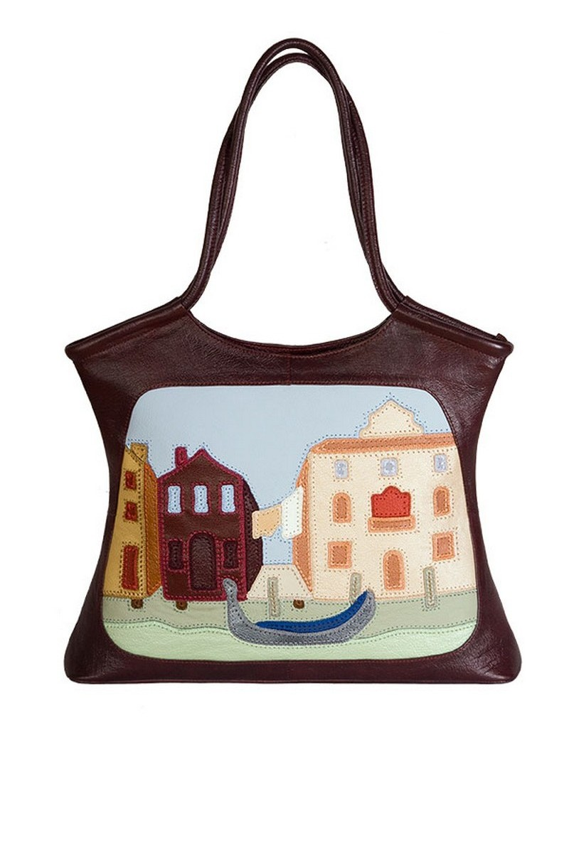 Buy Burgundy casual leather handmade zipper medium women handbag
