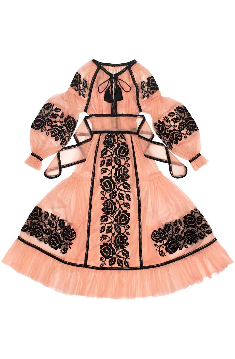 Buy Tulle Long Pink Ethnic Ukrainian Folk Authentic Unique Embroidered Dress