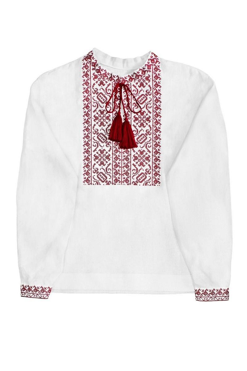 Buy Men's embroidered shirt, white linen ukrainian authentic vyshivanka