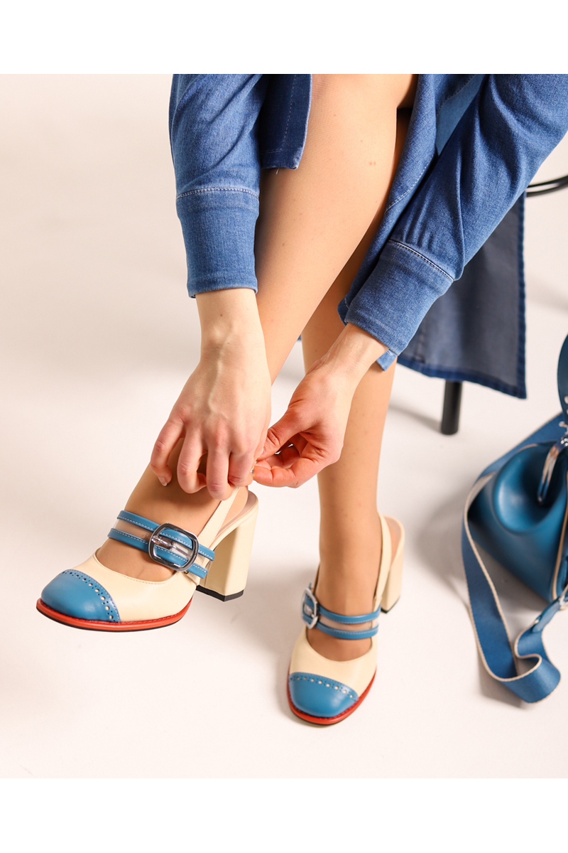 Buy Open high heel strap buckle round toe milk blue leather women shoes, handmade dress shoes