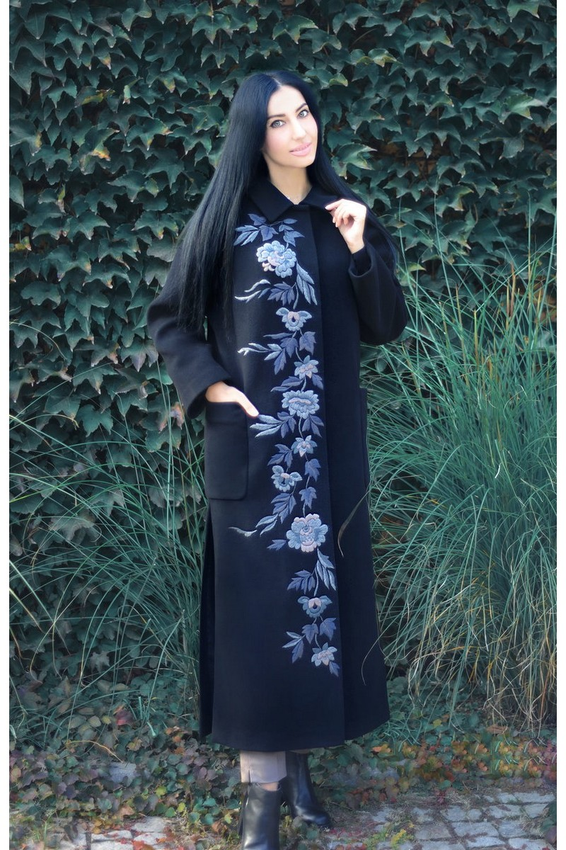 Buy Exclusive Long black wool cashmere embroidery coat, designer coat