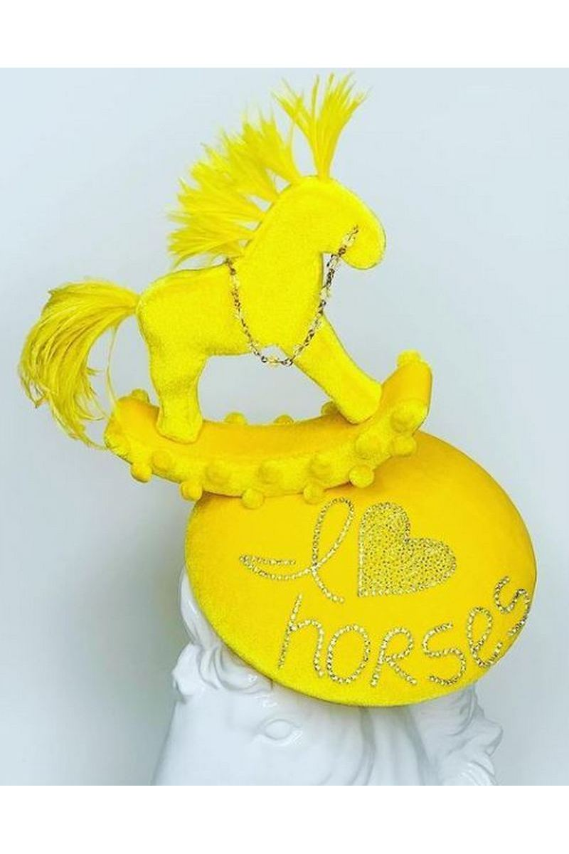 Buy Elegant Yellow Velour Hat I love horses Cocktail Tea Party Headwear with Horse for Girls and Women