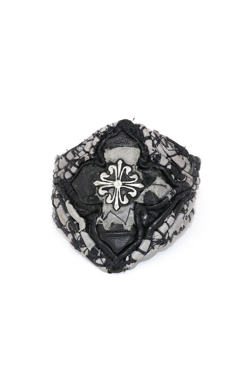Buy Black Grey Reborn From The Cross Leather Wristband, Handmade unique stylish leather accessories