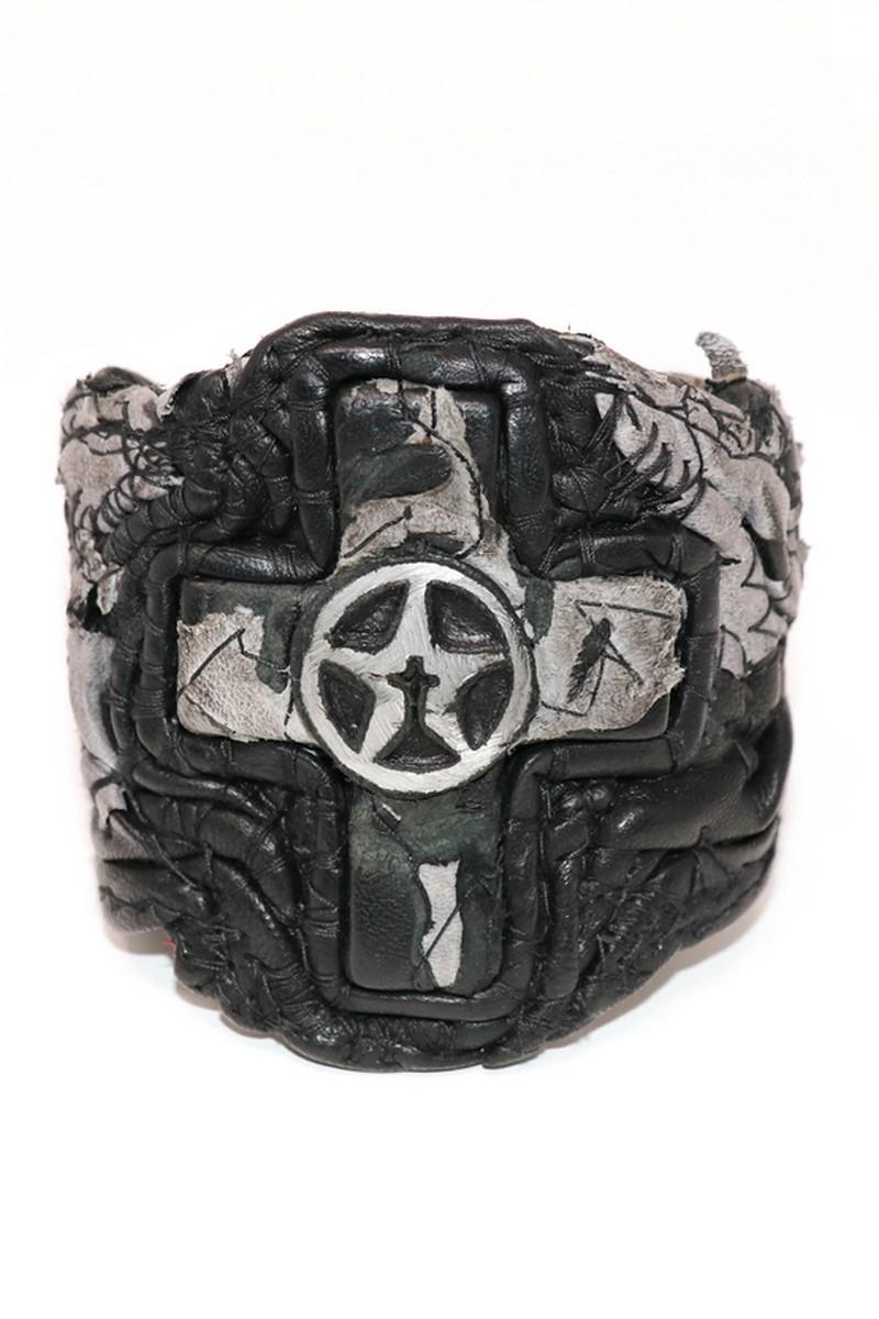 Buy Black Grey One Way Rockstar Cross Wristband, Rock Punk bracelet, Stylish Leather accessories