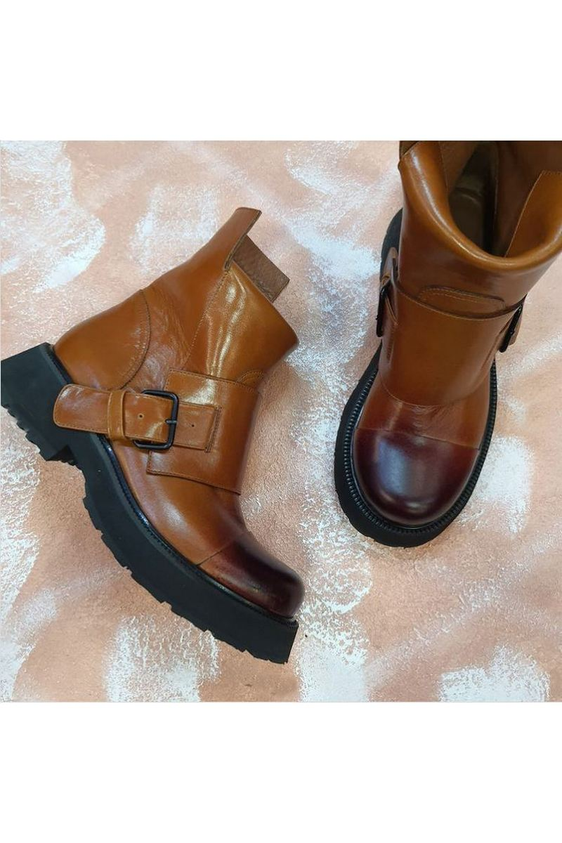 Buy Brown Exclusive Fashion Moto Handmade Women Leather Boots Buckle Ankle Booties Designer Comfy Shoes