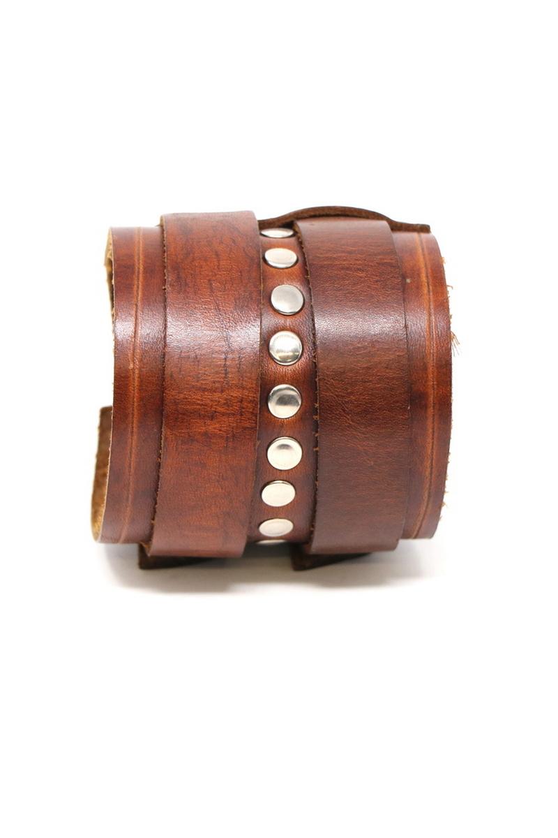Buy Handmade Women Men Metal Leather Bracelet Adjustable Double Strap Silver Studded Wristband