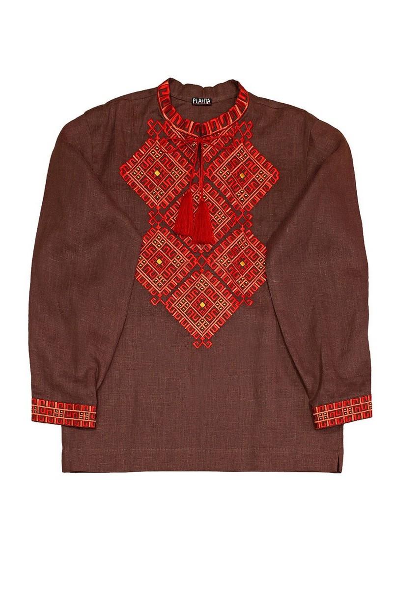 Buy Men's boho embroidered shirt, Brown Ethnic Long Sleeve Linen Ukrainian vyshivanka for man