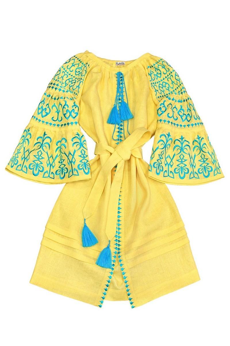 Buy Embroidered Boho style linen stylish yellow Ukrainian ethnic unique designer dress