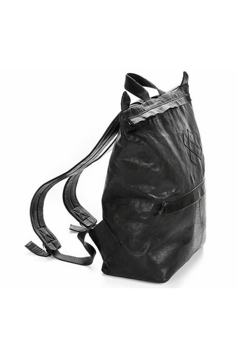 Buy Casual black urban leather backpack, handmade designer original backpack