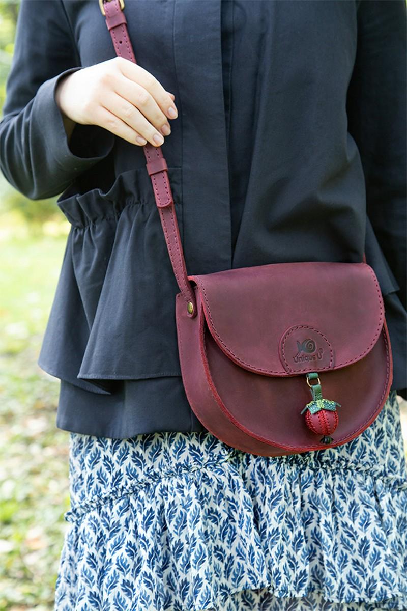 Buy Leather handmade women small shoulder crossbody bag