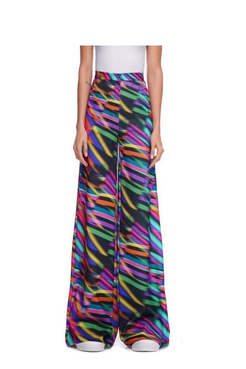 Buy Wide multicolor Polyester Party trousers, Elegant Loose designer women pants