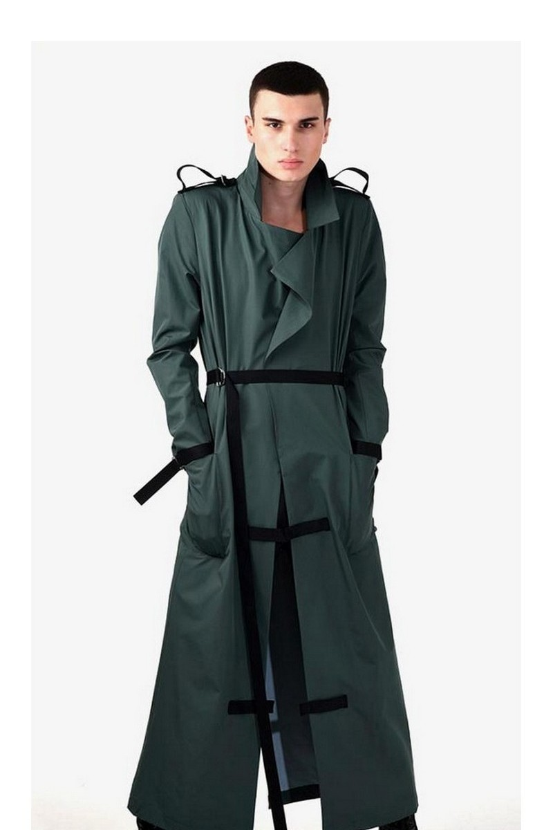 Buy Long waterproof raincoat men green, pockets english collar stylish raincoat, designer unique clothing