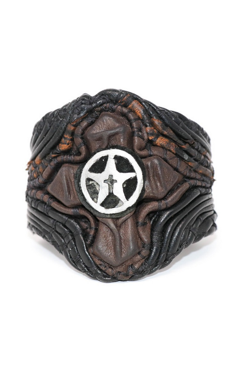 Buy Brown & Black Illuminating Cross Wristband, Rock Metall bracelet, Stylish Rockstar accessories