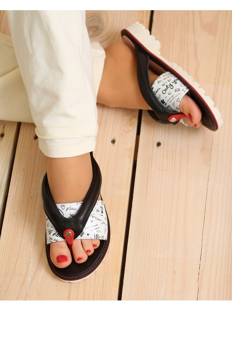 Buy Women's flip flops black white leather tractor outsole, designer summer casual beach shoes