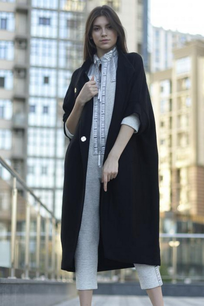 Buy Long black casual knitted cardigan, Loose wool oversized comfortable coat