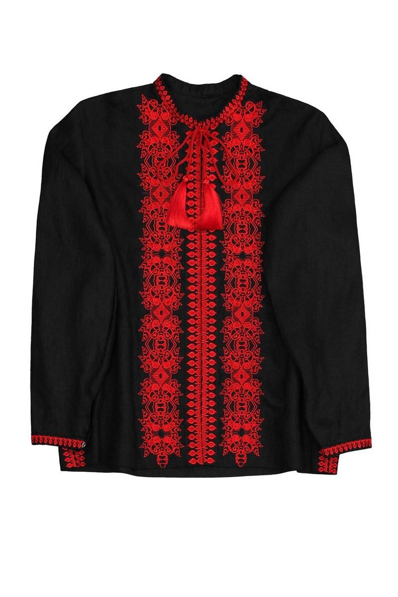 Buy Ukrainian boho black linen vyshivanka, Men's embroidered shirt