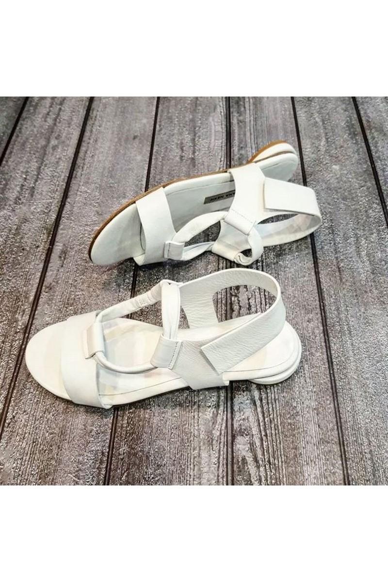 Buy White Leather Flat Sandals Half Round Toe Elastic Band