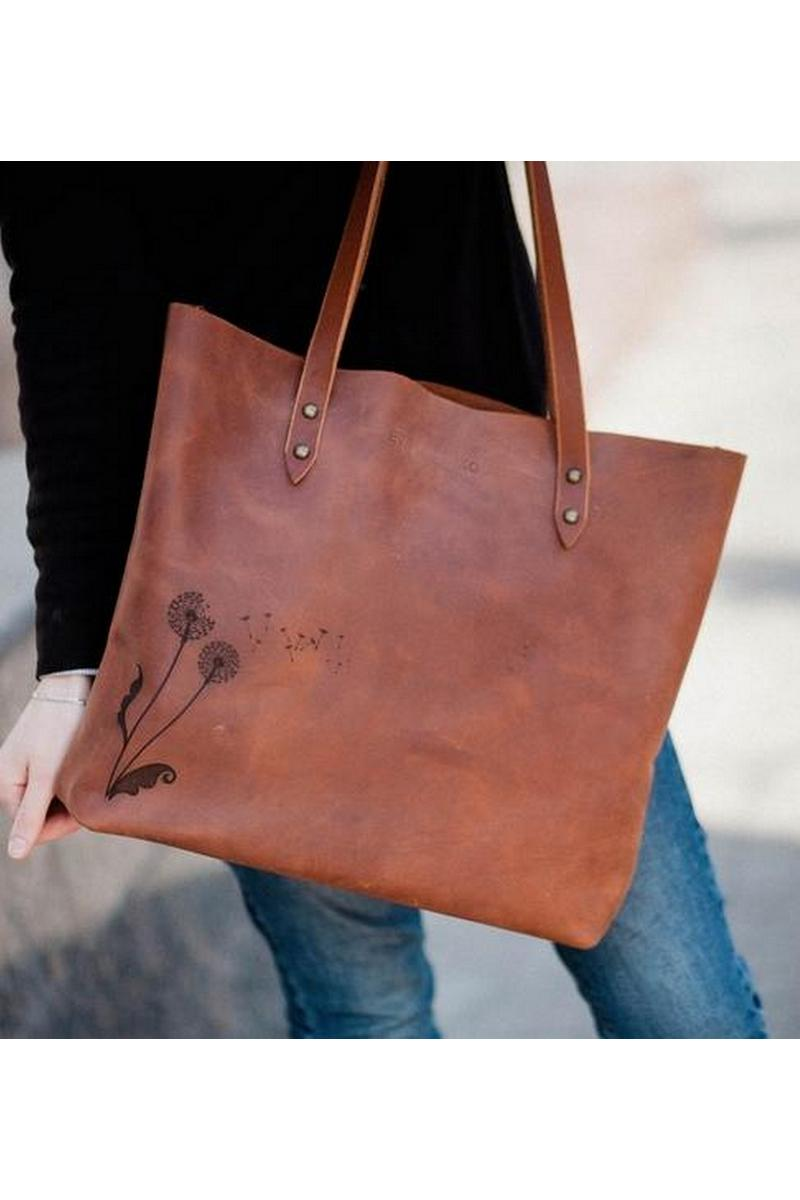 Buy Brown comfortable women`s big real leather original print shopper bag