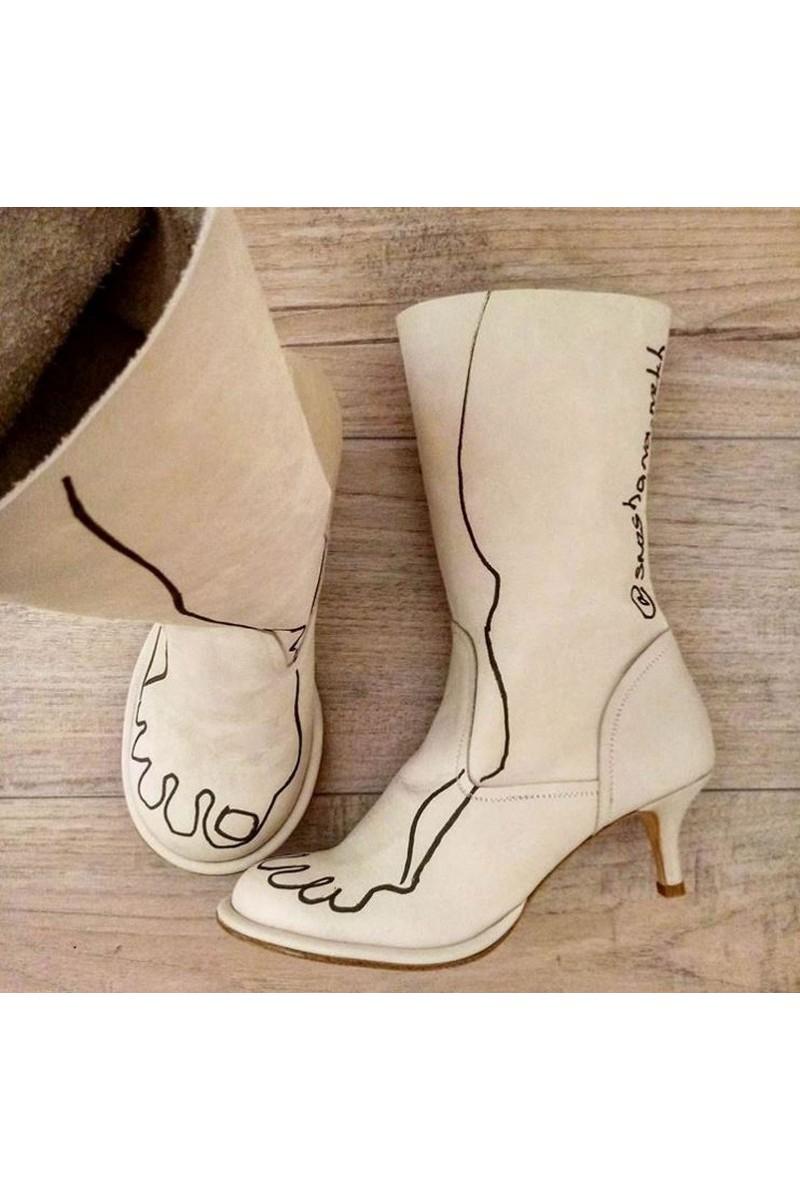 Buy Original leather beige heel boots, handmade unique designer shoes