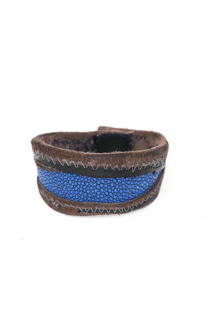 Buy Skyblue Stingray Leather Wristband - Leather Wrap Bracelet for Women Men - Handmade Clasp Bangle Bracelet