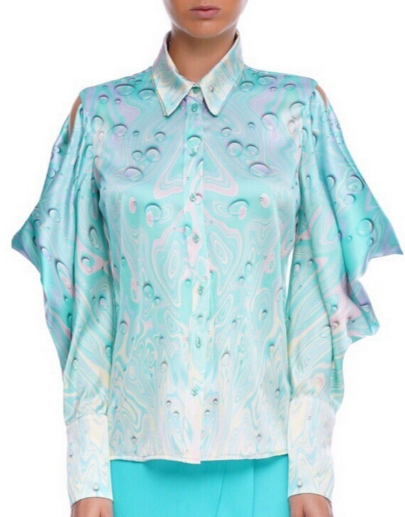 Buy Sleeve accented silk blue blouse, party fashion elegant casual exclusive designer blouse
