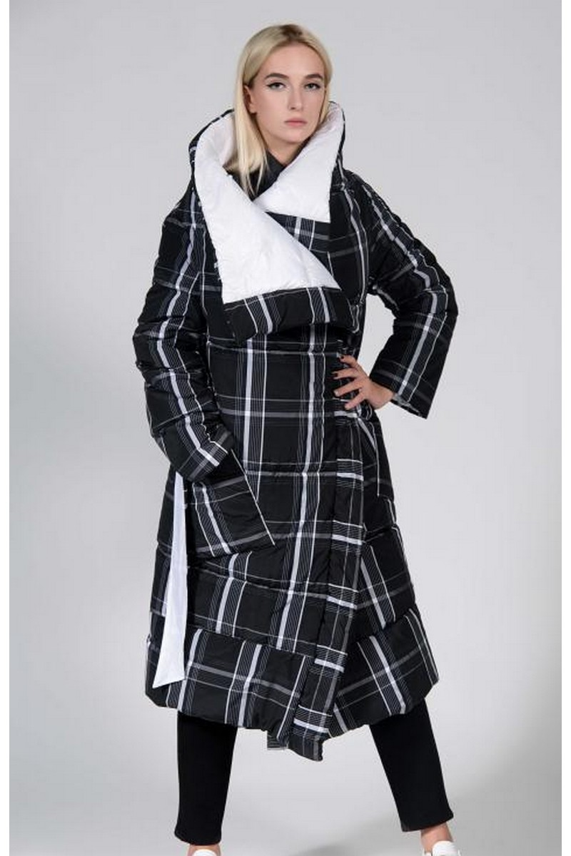 Buy Double-sided white checkered down jacket, women warm winter stylish blanket coat