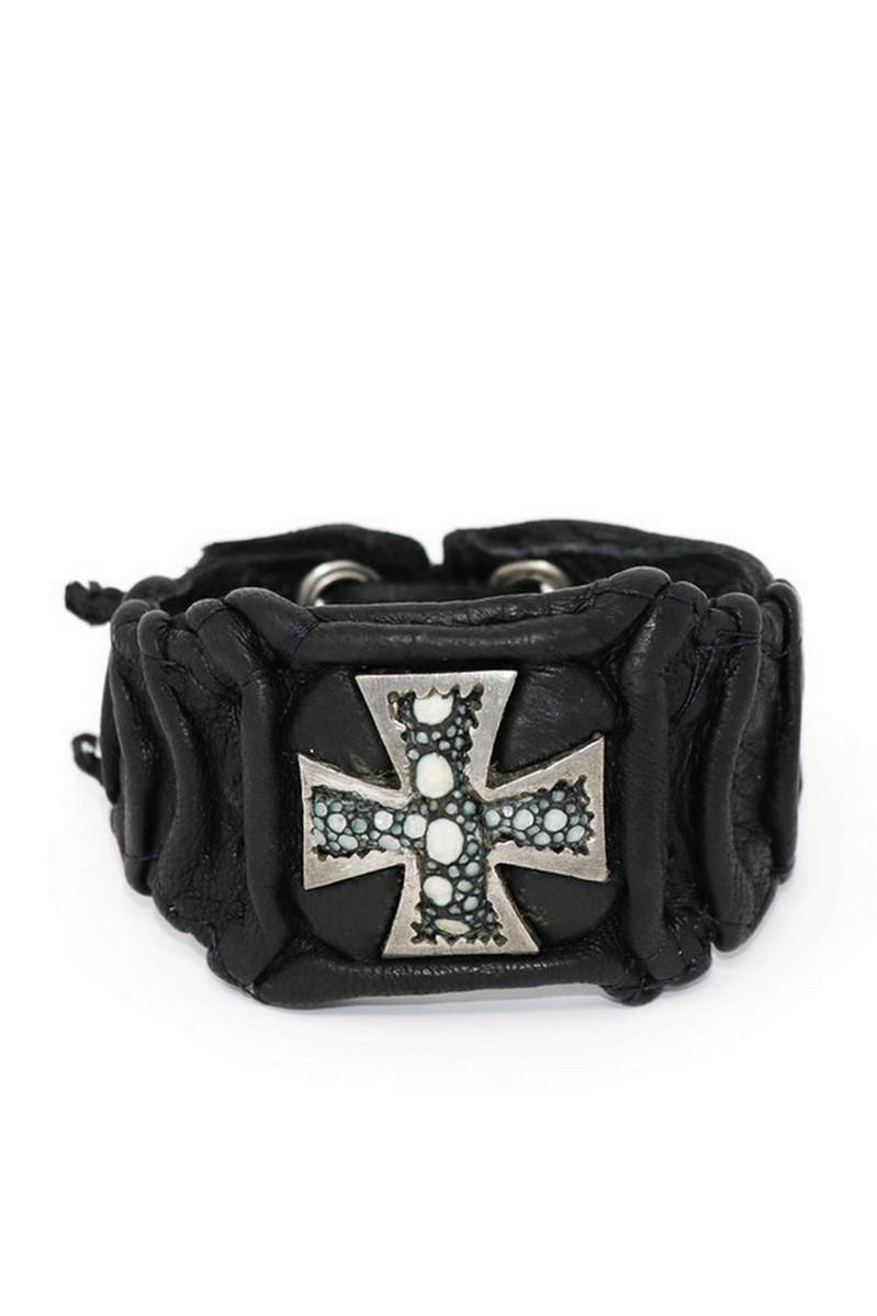 Buy Black Illuminating StingRay Cross Wristband, Handmade unique leather accessories