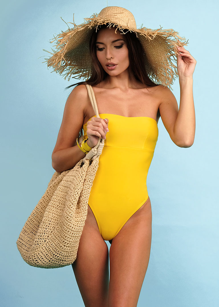 Buy Yellow Beach one piece women's lacing swimsuit, Sexy summer swimsuit, Stylish swimwear for ladies