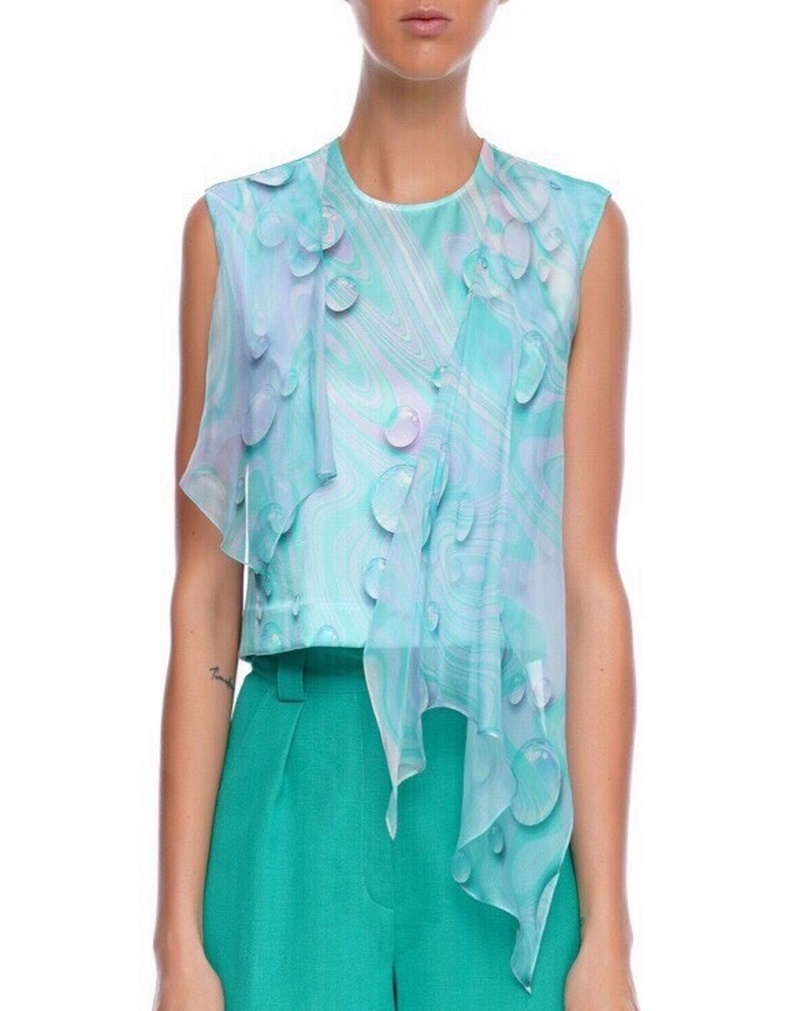 Buy Tie-up blouse with decorative wings, blue silk shiffon party elegant evening blouse