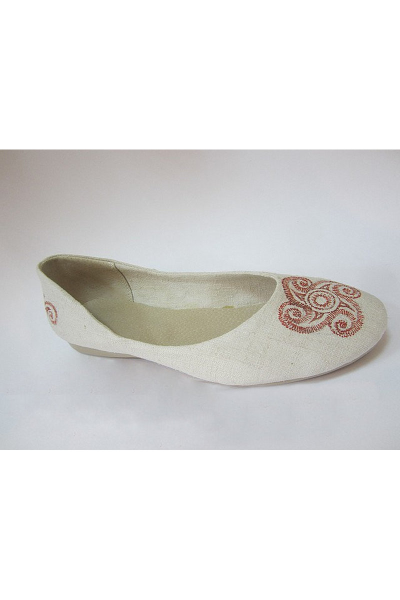 Buy Ballerinas shoes white casual women's hemp comfortable embroidery round toe, Hippie Boho eco shoes