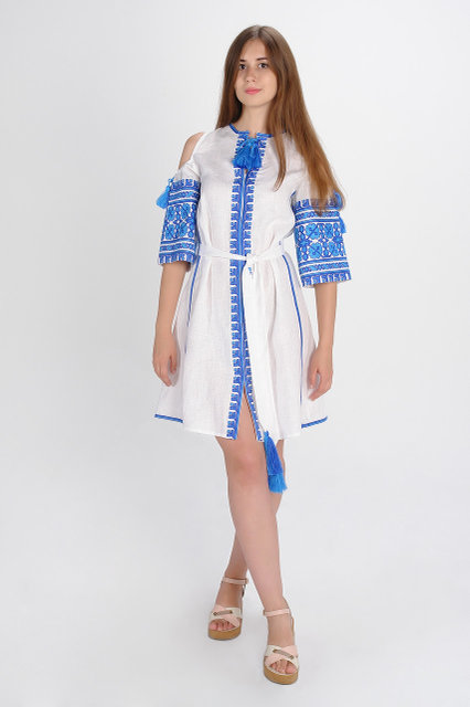 Buy Authentic ethnic Ukrainian midi dress with embroidery, embroidery