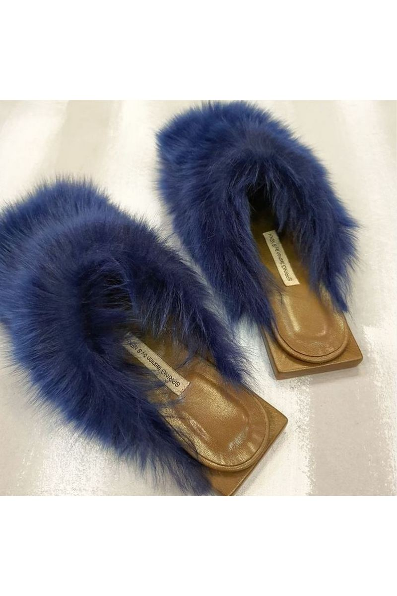 Buy Fashion fluffy fur women clogs, Women open heel mules, fashion designer handmade exclusive shoes