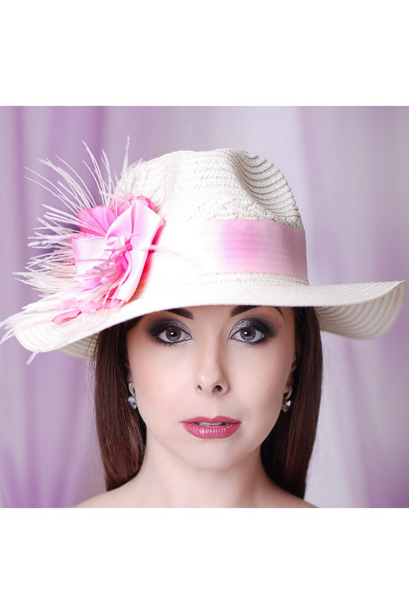 Buy Exclusive summer women's straw fedora hat in retro style, Unique stylish hat for the holiday