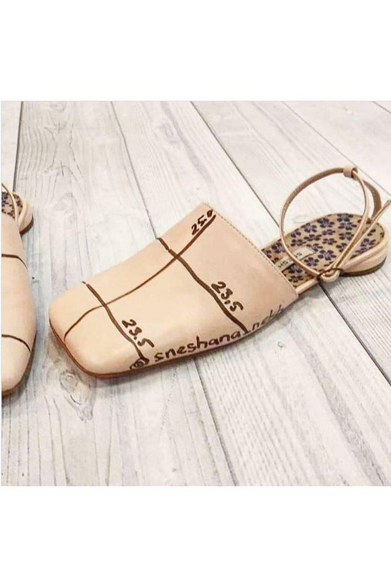 Buy Leather shoes sandals beige flat square toe, handmade unique designer women shoes