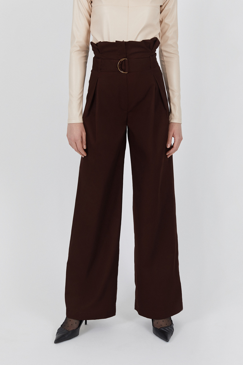 Buy Trousers wide straight pockets brown, retro style casual women pants