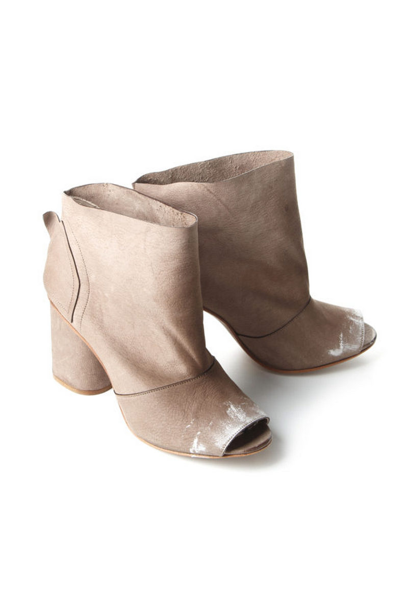 Buy Open toe beige women`s comfortable leather nubuck heel ankle boots, Designer original shoes
