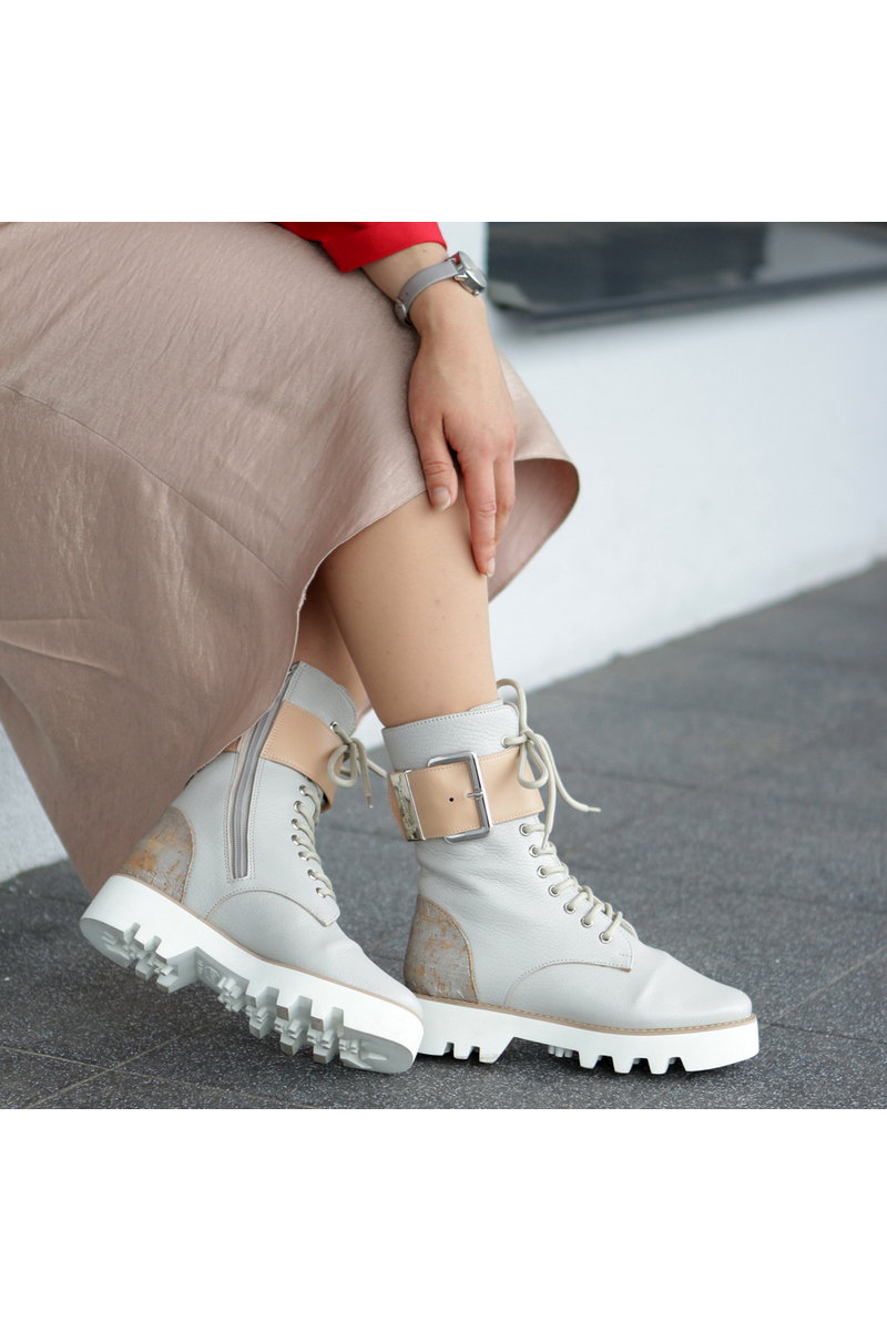 Buy Lace Up Zipper Grey Military style Women Boots