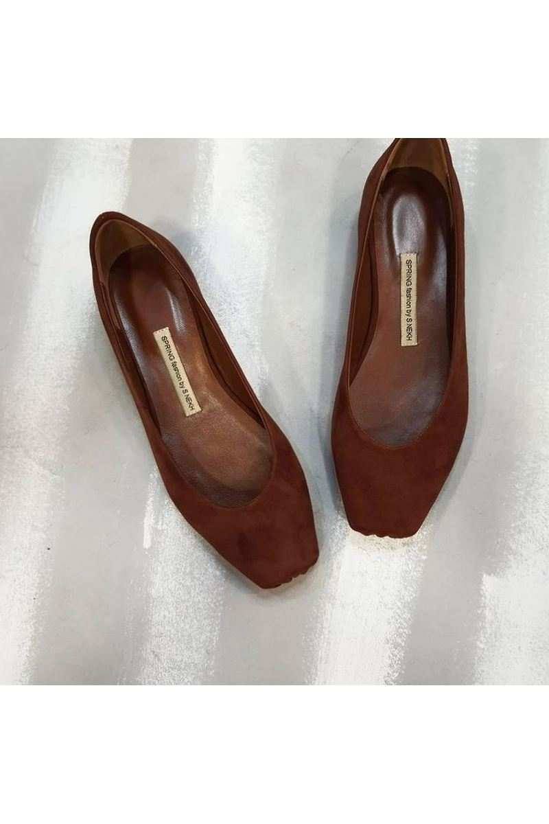 Buy Brown suede ballet flat square toe low heel elegant handmade shoes women