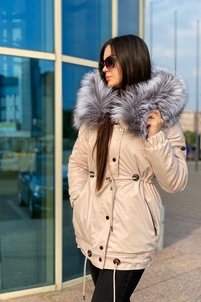 Buy Warm Beige Winter parka Puffer Jacket With Silver Fox Fur Hood Warmth Outerwear