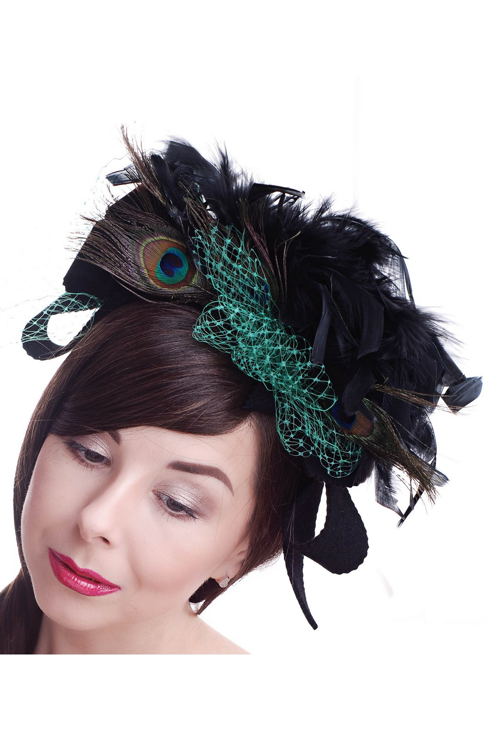 Buy Little black felt women's peacock feathers hat in retro style, Unique exclusive designer stylish hat