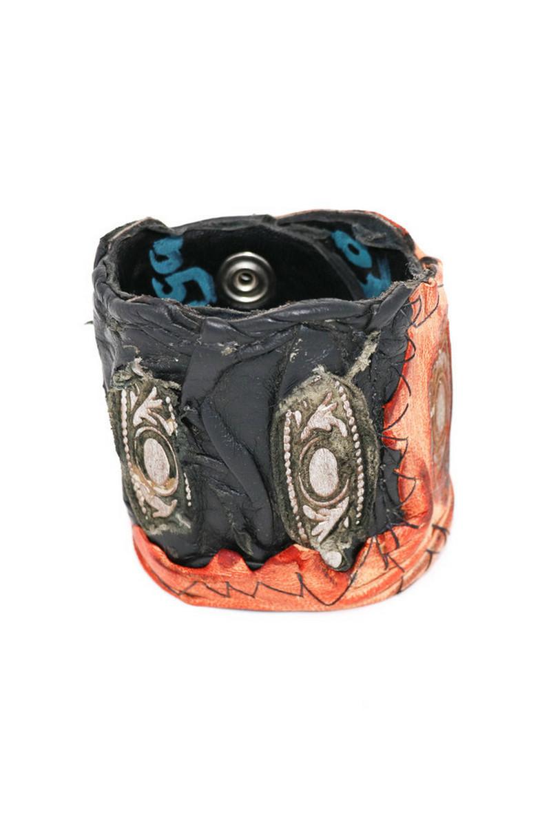 Buy Western Cowboy Rockstar Black/Red Leather Wristband - Leather Cuff Bracelets for Men Women Punk Rock Braided Bracelet Warp Red Black Wristbands Handmade Jewelry