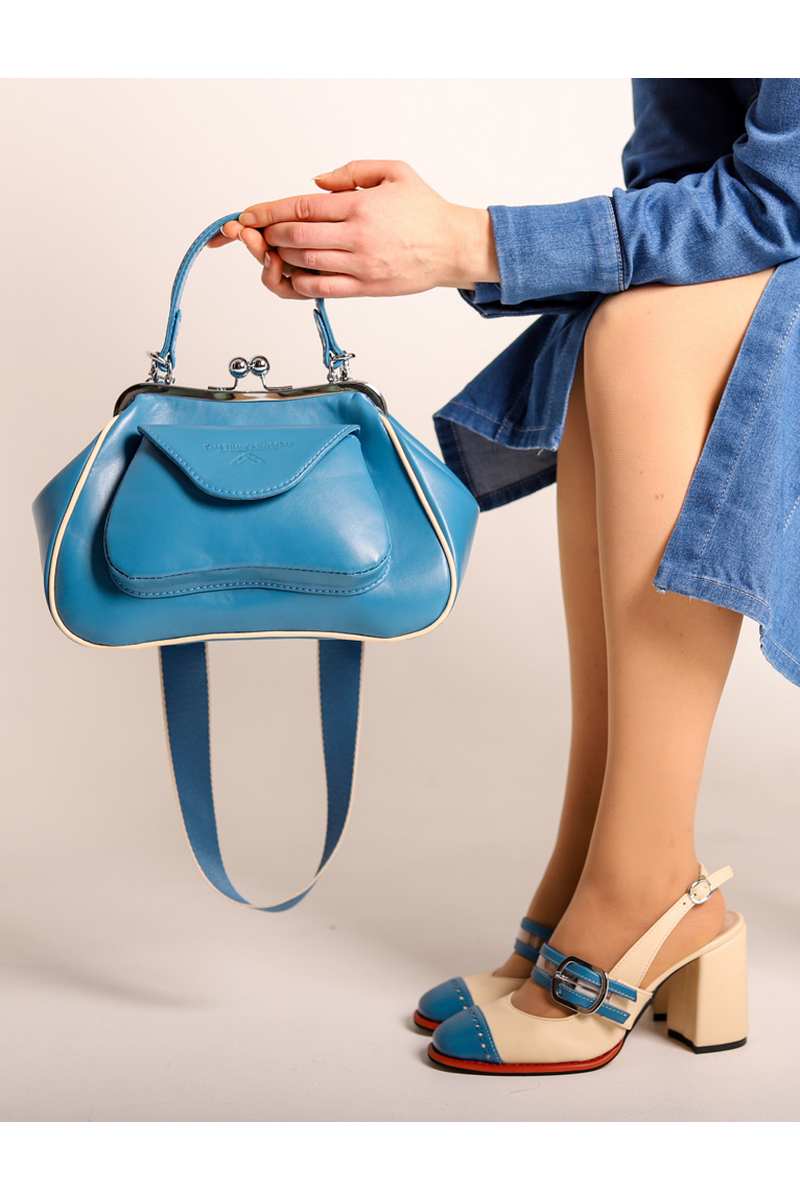 Buy Women Leather Reticule Bag Vintage Style Kiss Lock Leather Top Handle Bag Casual Handbag