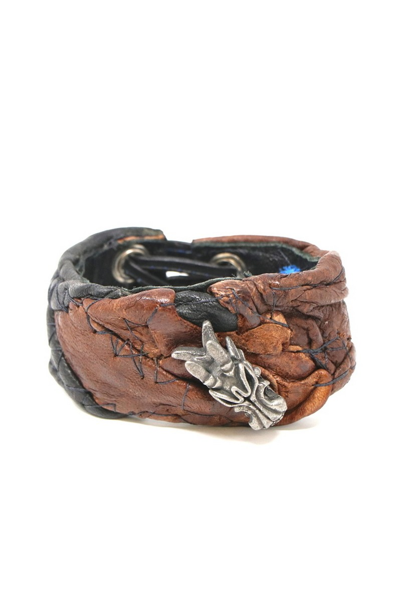 Buy Brown & Down Dragon Leather Cuff, Rock Punk Metall bracelet, Stylish Rockstar accessories