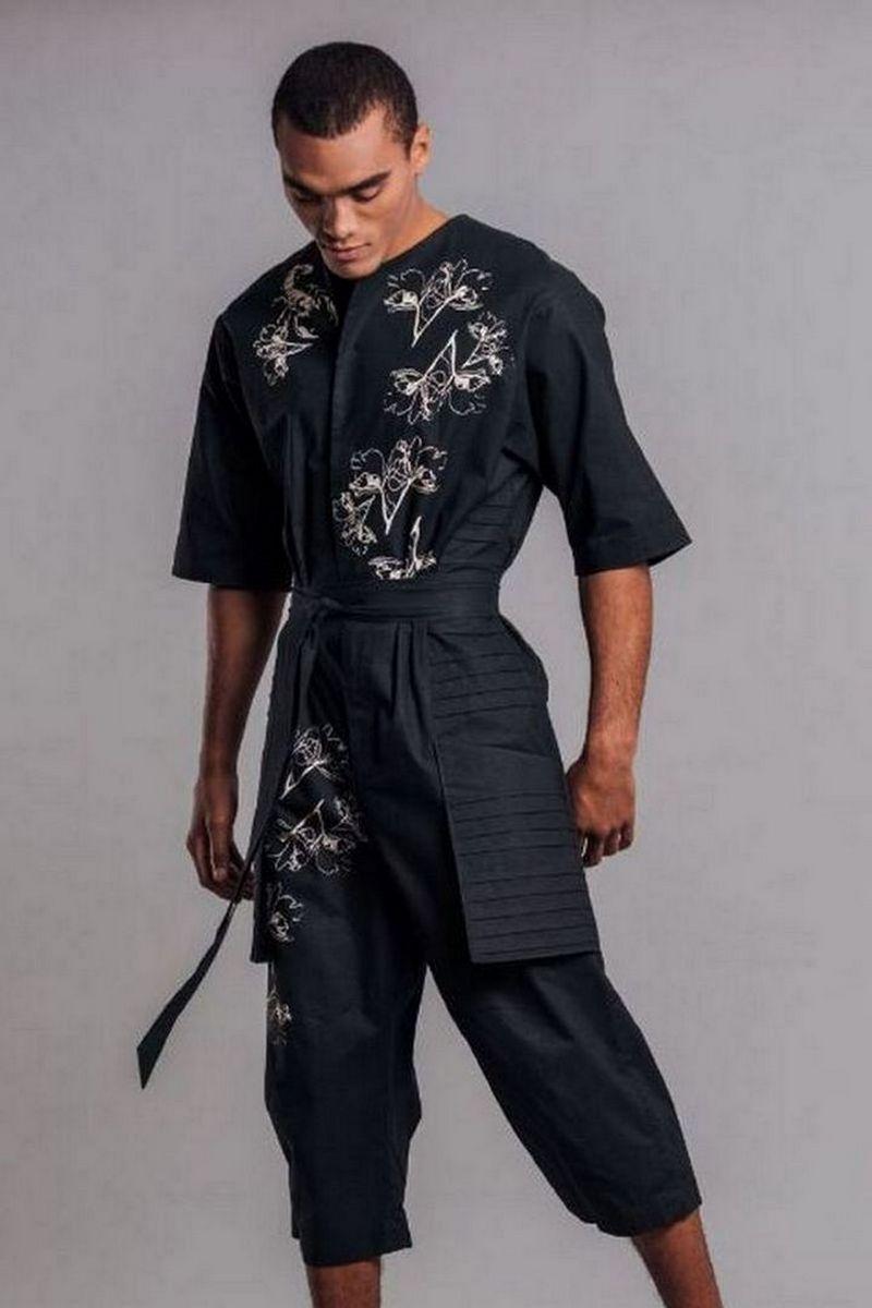 Buy Samurai Style Men`s Print Black Linen Overalls with Pockets