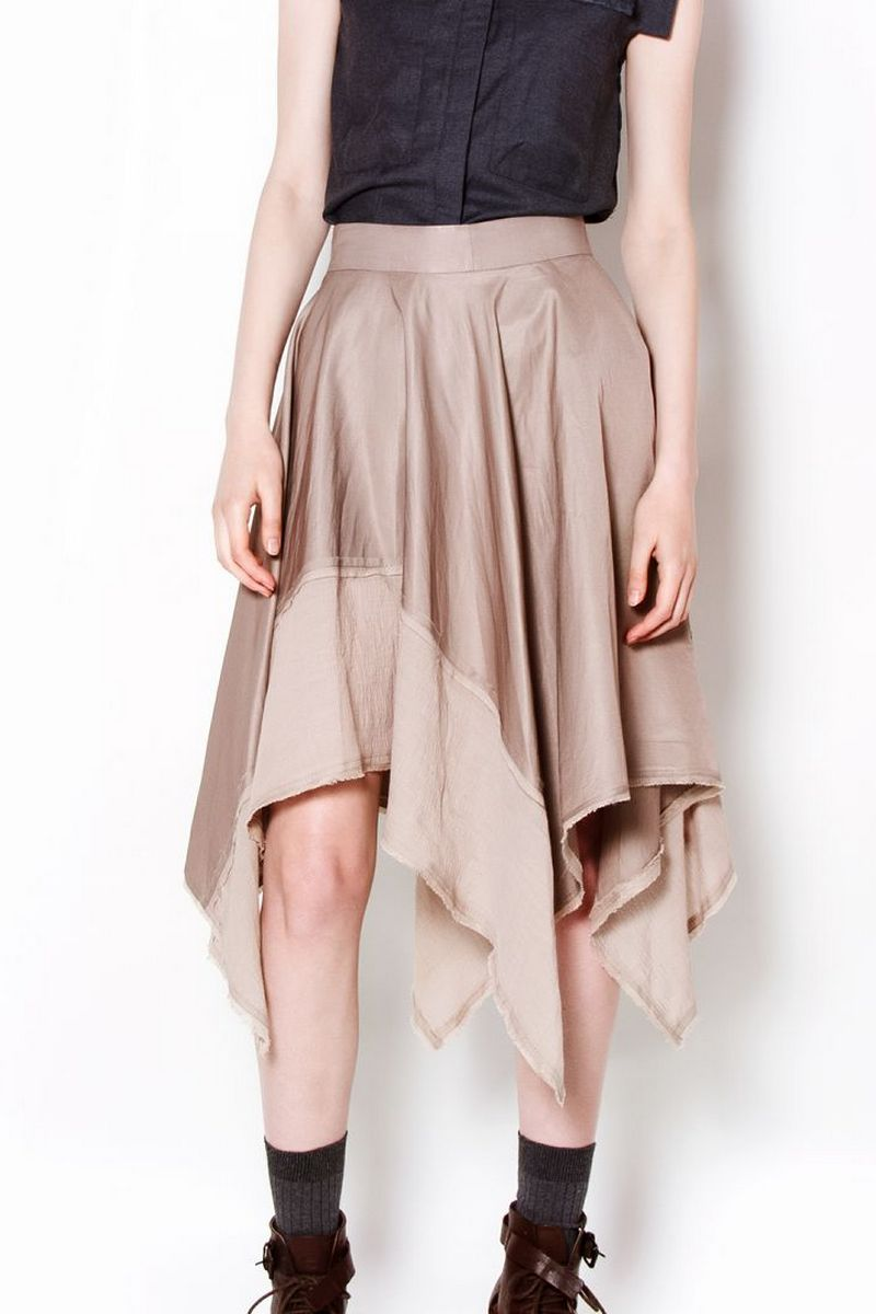 Buy Beige women's asymmetric comfortable cotton skirt, Designer skirt for stylish ladies