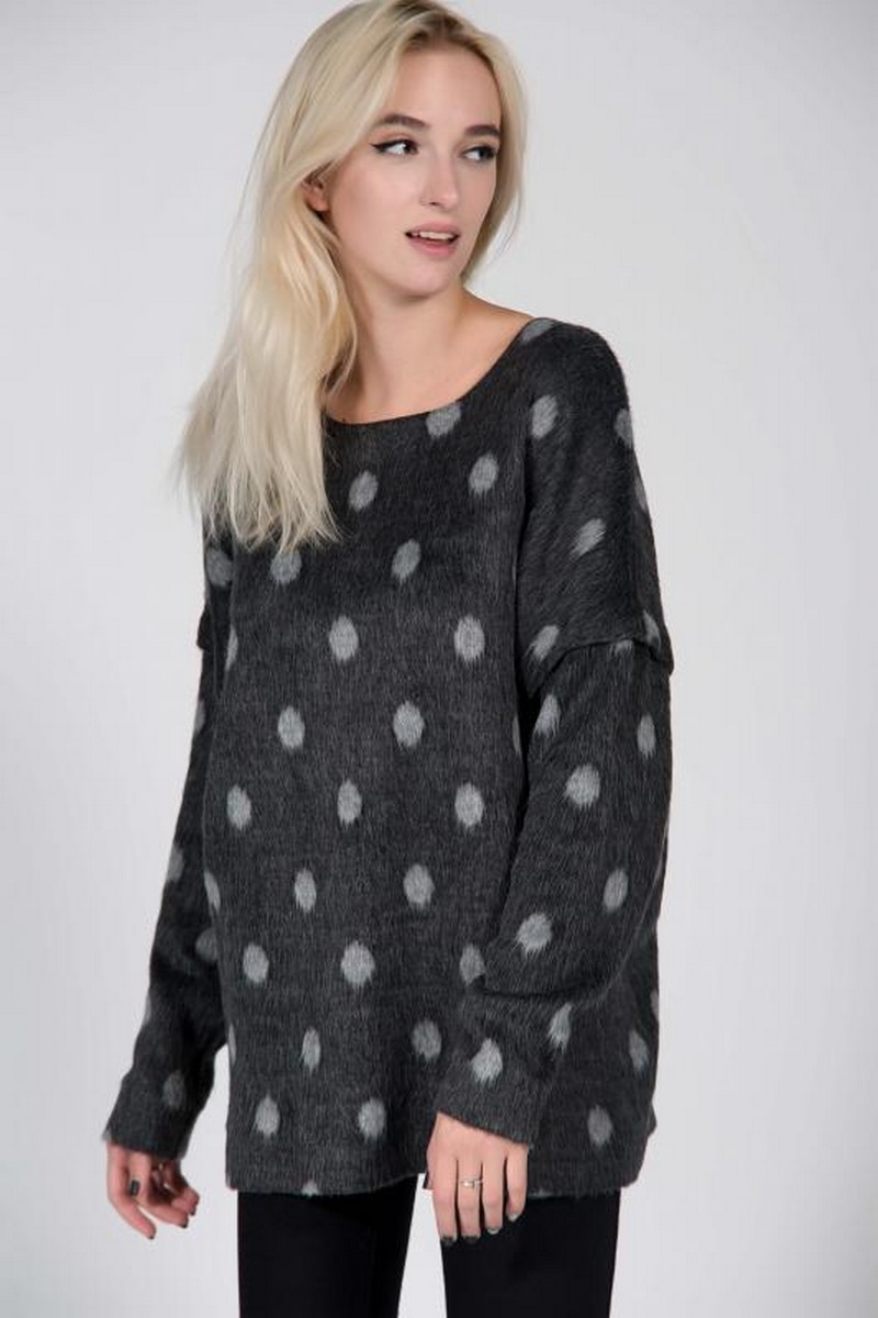 Buy Comfortable black loose wool sweater, polka warm women sweater